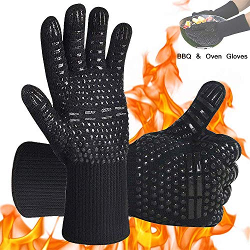 AOMEES BBQ Gloves, Oven Gloves Heat Resistant Weber Cooking Glove with Fingers
