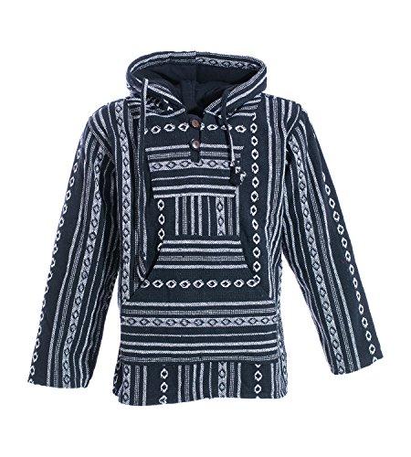 KUNST UND MAGIE Nepal Baja Jerga Sweatshirt Poncho mit Fleecefutter Kapuze, Größe:S, Farbe:Schwarz/Weiß