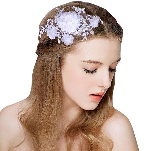Topjin Dentelle Fleurs Mariage Cérémonie fête style de cheveux épingles mariée Accessoires Cheveux Coiffe