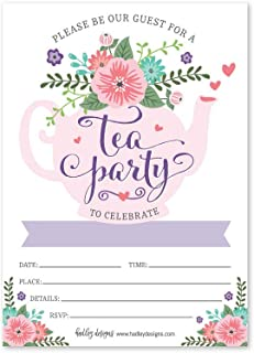 25 Floral Tea Party Invitations, Little Girl Garden Tea Cup Time Bridal or Baby Shower Invite, High Tea Themed Ladies Event Ideas, Lavender Kids Birthday Supplies, Printed or Fill in The Blank Card
