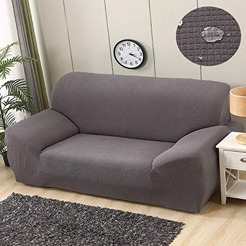 L-LIPENG Sofa Cover, Waterproof Elastic Sofa Cover, Thick L-Shaped Corner Universal Sofa Cover, 1/2/3/4/Seat Non-Slip Furniture Protector (with Two Pillowcases),Gray,230~310cm