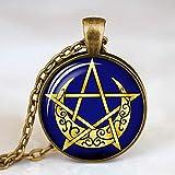 DADATU Símbolos de Estrellas satánicas Ocultas Los Signos de Estrellas invertidos Pentagrama invertido Pentagrama satánico Cúpula Collar de Cristal Collar de joyería