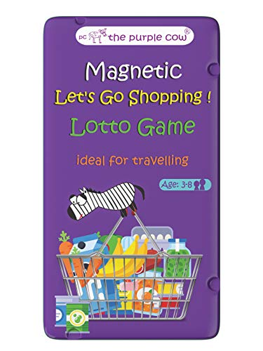 The Purple Cow- Let's Go Shopping Game- Magnetic Travel Game. Great for Travel and on-The-go. Lotto Game for Boys and Girl Ages 3+. Learning Activity.