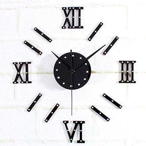 horloge murale CivilWeaEU- DIY Combinaison Rivets Numéros Romains Horloges Fun Horloges Horloges Mode Creative en Bois (Couleur : Noir)