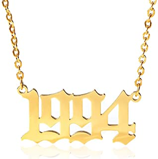 18k Gold Wedding Date Necklace Friendship Jewelry YOOE Stainless Steel Birth Year Necklace 1989-2000 Initial Year Number Pendant Necklace