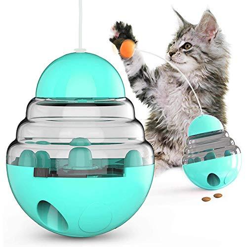 Stehaufmännchen Entworfen Hund Leckerli Spielzeug, Spaß und Interaktiver Hundesorgfalt-Ball/Nahrungsmittelspender/Interaktives Spielzeug/Langsam Essen IQ Training Ball für Hunde und Katzen - Blau