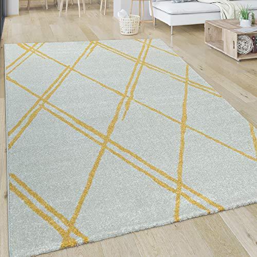 Alfombra De Salón De Pelo Corto De Diseño Escandinavo Y Motivo De Rombos En Blanco Y Amarillo, tamaño:60x100 cm