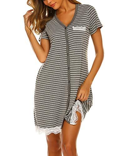 Ekouaer button front Sleepwear Women's Casual V Neck Breastfeeding Nightshirt Short Sleeve Short Nightgown
