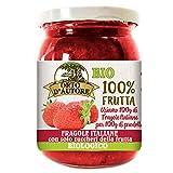 ORTO D'AUTORE Compota Bio de Fresas Italianas, 3 X 230g. Mermelada 100% de Fruta Italianas de la Agricultura Ecológica, Mermelada con Fruta en Trozos y Solo Azúcares de Frutas, VeganOk, Gluten free