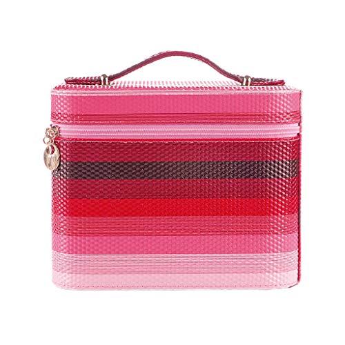Sac cosmétique de Stockage Sac cosmétique de Stockage de Grande capacité Sac cosmétique imperméable portatif (Color : Pink, Taille : 15 * 22.5 * 17.5CM)