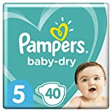 Couches Pampers Taille 5 (11-16kg) - Baby-Dry , 40Couches, Jusqu'À 12h De Protection