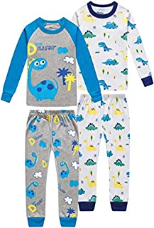 Image of Blue 2 Pack Cartoon Dino Pajama Sets for Toddler Boys and Infants - See More Dinosaur Designs