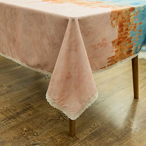 """Wewoch Decorative Floral Print Waterproof Lace Tablecloth Wrinkle Free and Stain Resistant Fabric Table Cloth for Kitchen Dining Room(Floral8, 60"""" x 120"""" Rectangular)"""