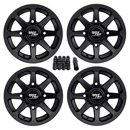 RockTrix RT102 12in ATV Wheels Rims 12x7 Black | 4x137 | 5+2 Offset | includes 10x1.25 Spline Lug nuts | Works with Select Bombardier Can-Am Maverick Commander Renegade Outlander 4/137 - Set of 4