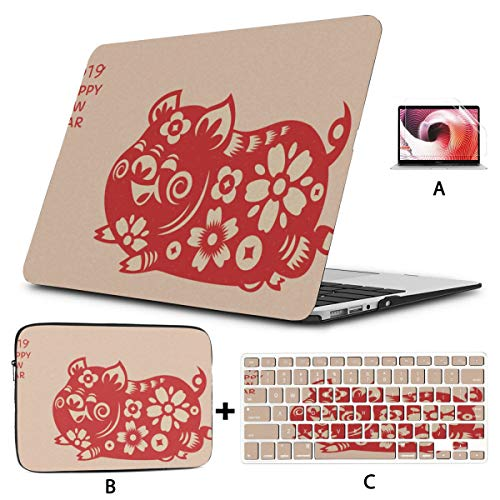 Macbook Protector Chinese Red Pig Paper Cut Protector Macbook Pro Funda Hard Shell Mac Air 11'/ 13' Pro 13'/ 15' / 16'con Funda para portátil para Macbook Versión 2008-2020