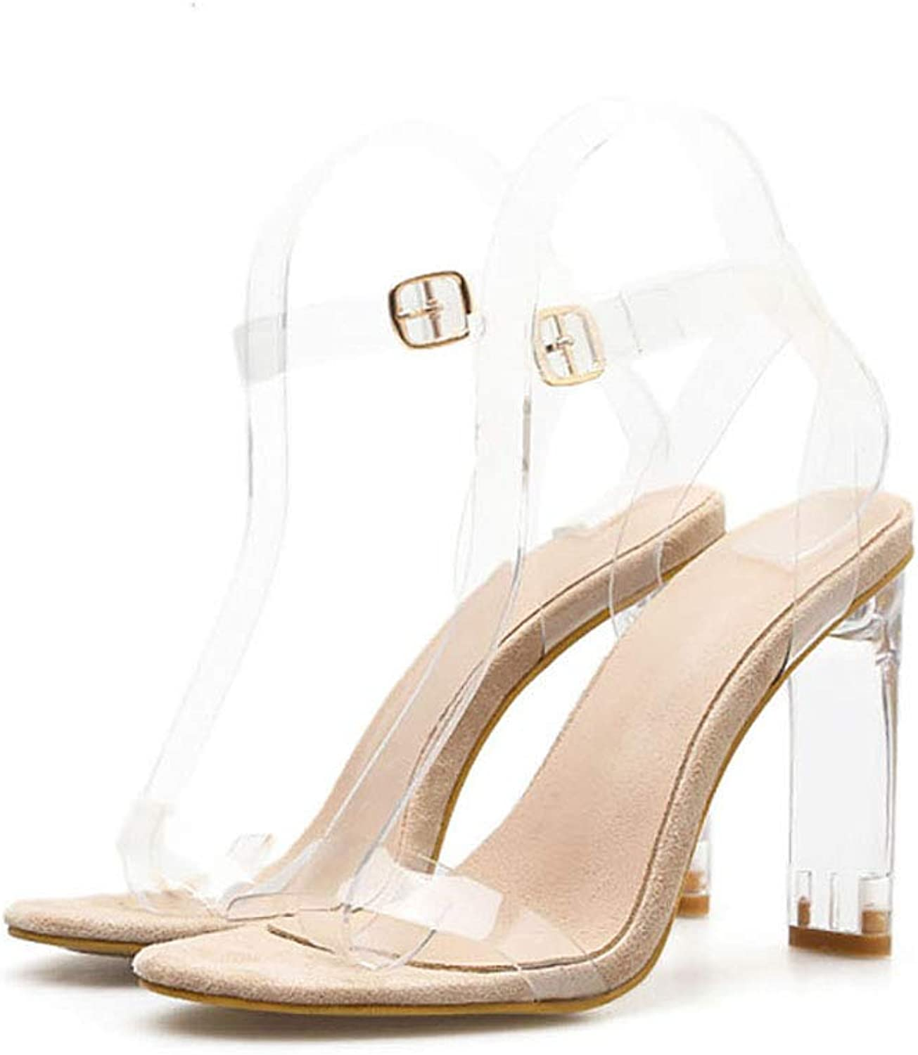 Women's High Heel Open Peep Toe Sandal, Ankle Strap Sandals for Dress Wedding Party Evening shoes Clear Strappy Block Chunky,Clear,36