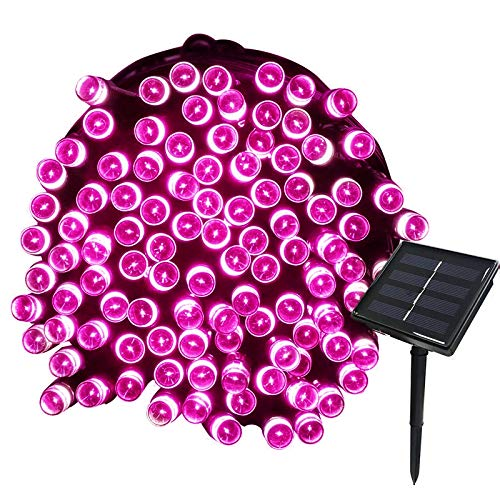 Tuokay Solar Lichterkette Außen, 22m 200 LED 8 Modi Wasserdicht LED Außenlichterkette, Dekorative Beleuchtung für Garten Balkon Pavillon Terrasse Rasen Hof Zaun Hochzeit Deko (Rosa)