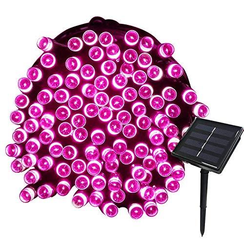 Tuokay 22M 200 LED Luci Giardino Energia Solare Luci da Esterno Luci Stringa Illuminazione per Addobbi Natalizi Catene Decorazione Natalizie Albero di Natale Giardino Patio (Rosa)