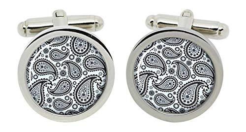 Gift Shop Paisley Muster Manschettenknöpfe in Chrom Kiste