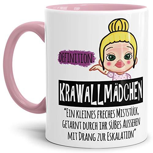 Tasse Krawallmädchen blond - Lustige Tasse mit Spruch/Kaffeetasse/Geschenk-Idee Mädchen/Tochter - Innen & Henkel Rosa