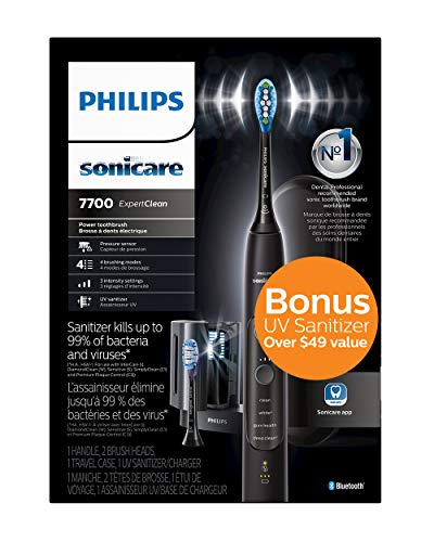 Philips Sonicare ExpertClean 7700 Rechargeable Electric Toothbrush with Bluetooth and UV Sanitizer, HX9630/15, Black