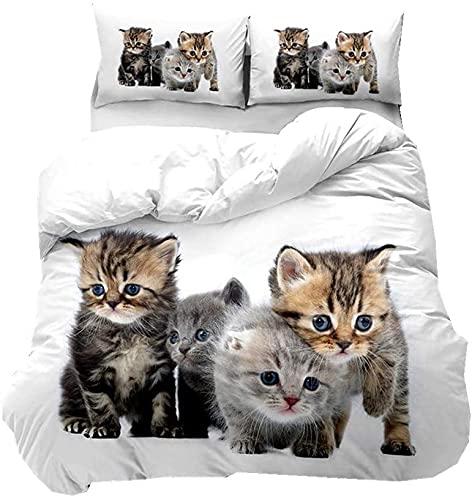 3D Animal Gato Juego de Funda Nórdica, Juego de funda de edredón y fundas de almohada de microfibra, para cama individual, doble,king (cuatro gatos, 135 x 200 cm)