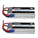 HRB 2packs 6S Lipo 22.2V 6000MAH 50C RC Lipo Battery with EC5 Plug for RC DJI E-Flite Airplane Quadcopter Helicopter Align 7.2 700L Yak 54 T-REX