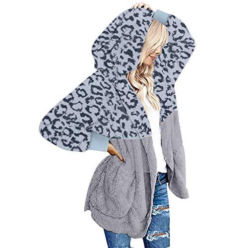iHENGH Damen Warm bequem Herbst Winter Lässig Stilvoll Jacke Mantel Oversized Open Front Kapuzen Drapierte Taschen Cardigan