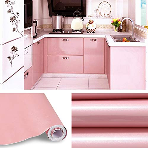 KINLO Aufkleber Küchenschränke rosa 2 Stk. 60x500cm (6㎡) aus hochwertigem PVC Küchenfolie Klebefolie Tapeten Küche selbstklebende Folie Küche wasserfest aufkleber für Schrank Möbelfolie Dekofolie