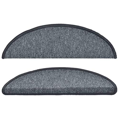 Tidyard 15 STK. Treppenmatten Matten 56 x 17 x 3 cm Mit doppelseitigen Klebebändern,Stufenmatten Treppen-Teppich Klebebändernrutschfest 375 g/m²,100% PP,getuftet