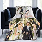 Custom Blanket with Photo Text Personalized Bedding Throw Blankets Customized Flannel Fleece Blankets for Family Birthday Wedding Gift Fits Couch Sofa Bedroom Living Room - 50'x40', 3 Photos Collage