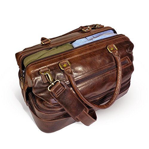 Leather Duffle Adventure Bag Weekender Travel Luggage with Shoe Compartment