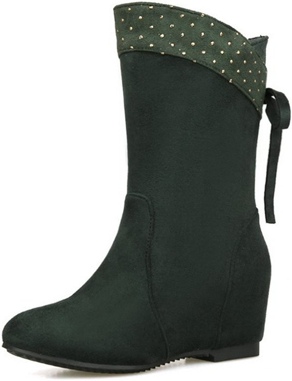 WeenFashion Women's Frosted Pull-On Round Closed Toe Kitten Heels Low-Top Boots
