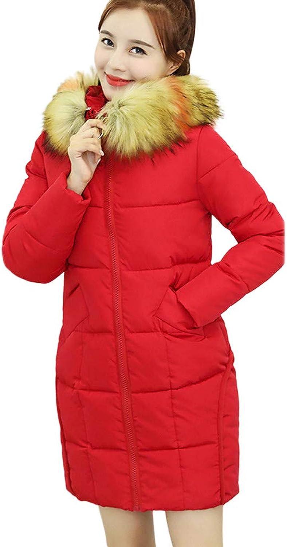 XUANOU Women Winter Coat Faux Fur Hooded Thick Warm Slim Jacket Long Overcoat