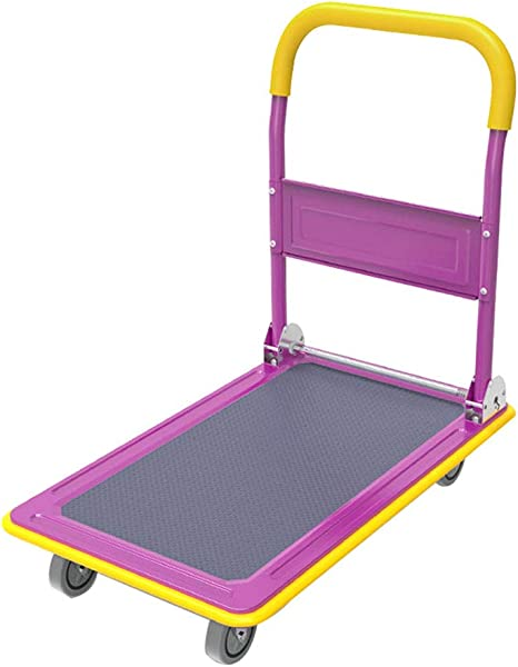 4 Wheel Foldable Rolling Warehouse Moving Flatbed Platform Dolly Push Cart Oversized Capacity Portable Hand Truck Non Slip Surface