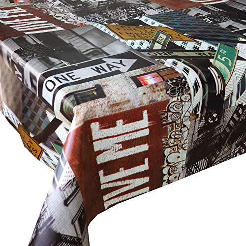 Mantel Hule NY Señales • Mantel Antimanchas Resistente y Muy FACIL DE Limpiar • Mantel Mesa Rectangular en PVC • Hules para Mesas • Múltiples Diseños y Económicos • Medidas ( 200 cm x 140 cm )