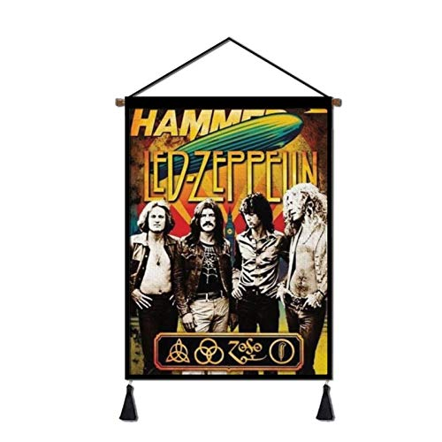 Vintage Rock Band Tapestry Hanging Poster Canvas Wall Art,Hip Hop Artwork Painting Plush Scroll With Tassels, Decoration for Home, Dorm , Office & Comic Exhibition (18''Wx26''H)