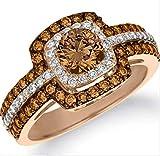 Bella Jewelry Shop Double Halo Round Cut Chocolate CZ Women Fashion Ring #1022 (7)
