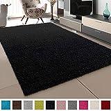 SANAT Teppich Wohnzimmer - Schwarz Hochflor Langflor Teppiche Modern, Größe: 60x110 cm