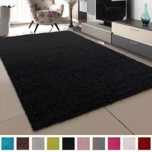 SANAT Teppich Wohnzimmer - Schwarz Hochflor Langflor Teppiche Modern, Größe: 160x230 cm