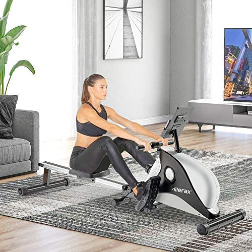 Bicicleta estática Máquina De Remo De Casa Remo Plegable Interior con Sistema De Frenos Magnéticos Monitor LCD Y Máquina De Aptitud De Ajuste De Resistencia De 8 Niveles (no Contiene Una Almohadilla)