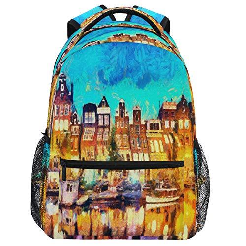 Oarencol Amsterdam Canal Casas de la Ciudad Pintura Mochila Mochila Mochila de Viaje Senderismo Camping Escuela Bolsa Portátil