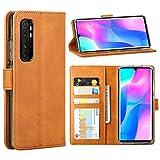 FUNMAX+ für Xiaomi Mi Note 10 Lite Hülle, PU Leder Handyhülle mit 3 Kartenfächer, Schutzhülle Hülle Tasche Magnetverschluss Flip Cover Stoßfest für Mi Note 10 Lite 2020 (Gelb)