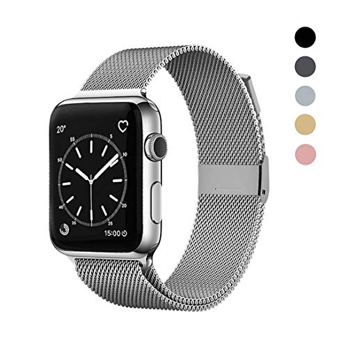 OSUVOX Compatible for IWatch Band, 38mm/40mm 42mm/44mm, Stainless Steel Loop Magnetic Band Compatible with Iwatch Series 5/4/3/2/1 (Sliver, 38mm/40mm)