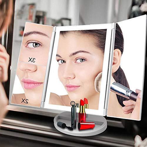 KANJJ-YU Portátil de Maquillaje de Tres Pliegues Espejo, 21 Luces LED con Pantalla táctil y USB de Carga de 180 Grados Soporte Ajustable for el Maquillaje cosmético del Espejo encimera Espejo