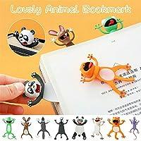 2ピース奇抜なブックマーク、より楽しい読書3D漫画マーカーかわいい動物のブックマーク、面白いかわいい学生学校の文房具の子供のギフトのブックマーク (パンダ+ウルフ)