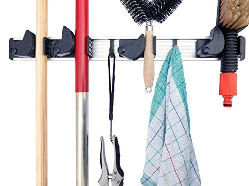 porta mopas / portaescobas / portaherramientas para taller, cobertizo de jardín, cocina o garaje