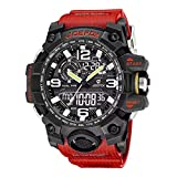 Reloj Militar para Hombre Rojo Deporte Relojes Analógico y Digital LED Electrónico Grande Relojes Resistente al Agua 50M