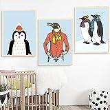 DUYAO00 Carteles e Impresiones nórdicos Pinturas de Animales Pingüino con Bufanda Arte de la Pared Pintura en Lienzo Imágenes para la decoración de la Sala de estar-20X30cmx3 Sin Marco