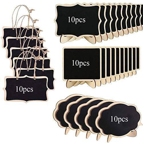Binjor 40Pcs Mini Pizarra de Madera con Soporte de Caballete Doble Cara con Cuerdas de Colgantes Mensajes Signos con caballetes de Apoyo cartelera pequeña